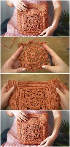 Crochet Motif Patterns, Granny Square Crochet Pattern, Crochet Designs, Crochet Stitches, Easy Granny Square, Granny Square Projects, Diy Crochet Bag, Crochet Bag Tutorials, Crochet Braid