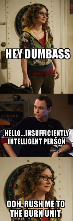 Leslie Winkle & Sheldon from the Big Bang this show! Miss Leslie Winkle! Big Bang Theory Show, Big Bang Theory Quotes, The Big Theory, Big Bang Theory Funny, Tv Shows Funny, Best Tv Shows, Favorite Tv Shows, Tv Quotes, Movie Quotes