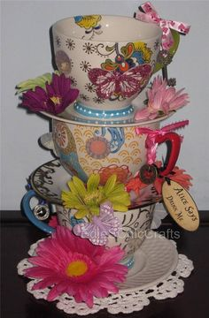 Ready to Ship Whimsical Blue Teapot & Teacup by EdieSChicCrafts