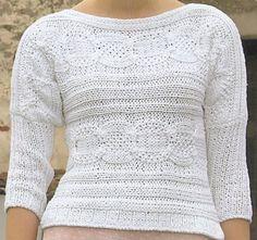 Modelli maglia ai ferri: pull bianco a punto treccia www.donnaclick.it - Donnaclick