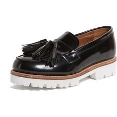 Grenson Clara Loafers (860 RON) ❤ liked on Polyvore featuring shoes, loafers, black, loafer shoes, loafers moccasins, tassle loafers, tassel loafers and grenson loafers