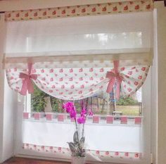 Diy Curtains, Curtains With Blinds, Window Curtains, Roman Blinds, Valances, My Sewing Room, Sewing Rooms, Vintage Kitchen Curtains, Custom Window Treatments