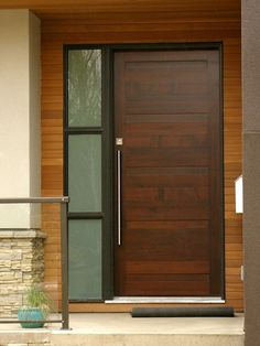 Contemporary Front Door with Pathway, Stained glass window, exterior stone floors