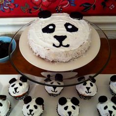 Panda baby shower: cake and cupcakes. So cute!!