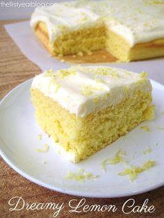 Dreamy Lemon Cake #lemoncake not a huge fan of te frosting but the lemon cake part sounds yummy