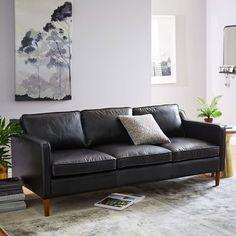 """1) Hamilton Leather Sofa, 81"""", Black Leather, $2299 + 15% off"""