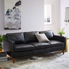 "1) Hamilton Leather Sofa, 81"", Black Leather, $2299 + 15% off"