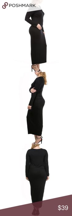 NEW💃🏾BLACK PLUS SIZE CHIC MAXI Simply chic, sexy and elegant. I love the versatility of this dress! Wear with a wide belt and stilettos for an evening out, roll the sleeves and throw on sneakers to run around town, or grab a crop jacket and wedges for happy hour! Unlimited possibilities with this sexy number. Comes in XL 2XL 3XL. Waunda's Closet Dresses Maxi