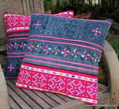 Beautiful #embroidered #Hmong #pillow covers