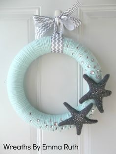 Tiffany Blue & Gray Yarn Wreath with Stars and Sparkle.
