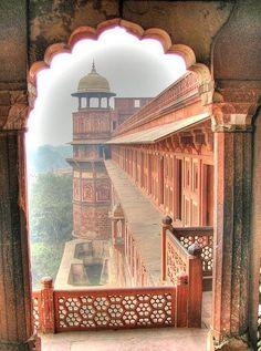 Taj Mahal, Agra, India fuerte rojo