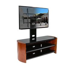Inval MTV 8619 Curved Front Flat Screen TV Stand 50 Inch Espresso