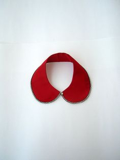 Red colored  handmade collar necklace by NurayAytac on Etsy, $25.00