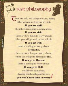 Best Philosophy Of Life - Irish Philosophy Irische Lebensweisheit