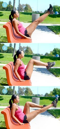 V sit , 6 Strength Training Moves You Can Do with a Park Bench