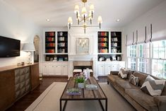 Built In Cabinets for Family Room - Contemporary - living room - Sally Wheat Interiors Living Room Inspiration, Room Inspiration, Family Room, Home And Living, Family Living Rooms, Furniture, Home Living Room, Family Room Colors, Living Spaces
