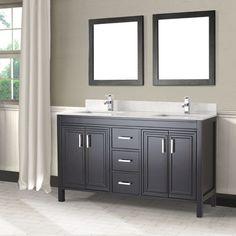 "Corniche 60"" Espresso Double Sink Vanity By Studio Bathe.  $1299 all inclusive, solid wood, engineered top."