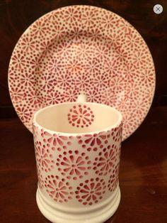 Emma Bridgewater Pink Daisy & Spot SAMPLE 0.5 Pint Mug and Pink Daisy & Spot SAMPLE 8.5 inch Plate for Collectors Day