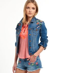 Superdry Embroidered Denim Jacket Blue