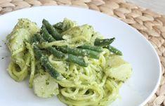 Pesto Zucchini Pasta Salad with Green Beans and Potatoes #zucchininoodles #zucchinipasta