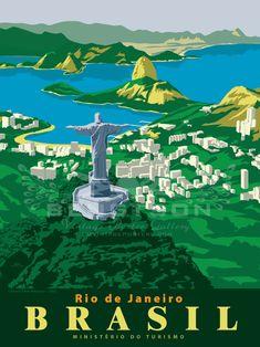 Vintage Travel Poster - Rio de Janiero - Brazil -  by F.W. Bengtson Jr. #Vintagetravel