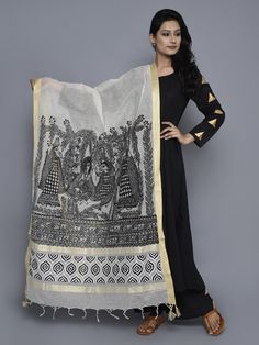 Off White Black Jute Cotton Hand Painted Madhubani Dupatta