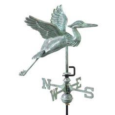 18 Handcrafted Blue Verde Robust Heron Outdoor Weathervane with Garden Pole, Outdoor Décor