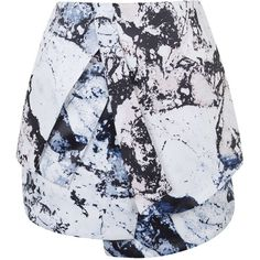 **Printed Skirt By Kendall + Kylie at Topshop ($85) ❤ liked on Polyvore featuring skirts, mini skirts, ecru, short skirts, layered mini skirt, mini skirt, party skirts and topshop