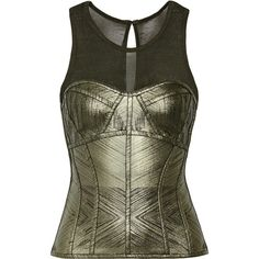 Hervé Léger Metallic bandage and stretch-knit top ($890) ❤ liked on Polyvore featuring tops, net-a-porter, army green, zip top, olive green top, olive top, herve leger top and bustier tops