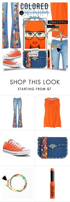 """Colored Denim:Bohemian Rhapsody"" by wuteringheights ❤ liked on Polyvore featuring Alice + Olivia, Dorothy Perkins, Anja, Converse, Valentino, NYX and coloredjeans"