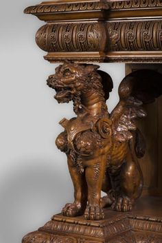 The side table coming from an exceptional furniture set realized by Moses Michelangelo Guggenheim for the Palazzo Papadopoli in Venice, Italy (Reference - Available at Gallery Marc Maison - Cheap Furniture, Table Furniture, Furniture Sets, Victorian Furniture, Antique Furniture, Antique Dining Room Sets, Architectural Antiques, Acanthus, Michelangelo