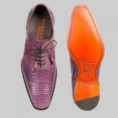 Mezlan Mens Shoes Dublin Purple Crocodile Oxfords (MZW2552)
