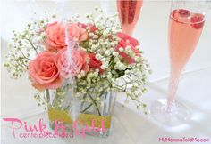 Easy Pink and Gold Party Centerpiece idea Perfect for Pink and Gold Baby Shower