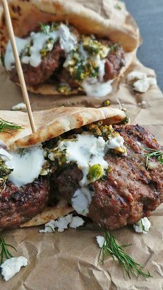 Grilled Lamb Pitas w. Mint & Pistachio Pesto @ Vodka & Biscuits Easily one of my favorite recipes out there. These patties are straight up delicious and the pesto only makes them better! Lamb Recipes, Greek Recipes, Meat Recipes, Cooking Recipes, Turkish Recipes, Persian Recipes, Grilling Recipes, I Love Food, Good Food