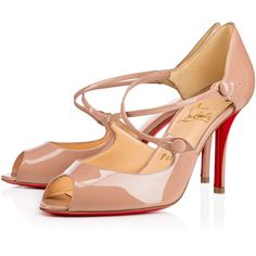 Christian Louboutin Debriditoe ($795) ❤ liked on Polyvore featuring shoes, pumps, nuded, nude shoes, nude patent leather pumps, dorsay pump, d orsay pumps and strappy pumps
