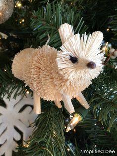 bottle brush fox ornament - christmas tree