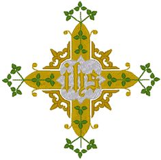 Cross, Vines & Christogram Embroidery Design.  Beautiful and simply elegant.