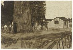 James Castle Untitled (Exterior with House) , soot and spit on paper