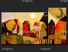 """Il quadro """"Citta' all'alba"""": visita la serie di opere capaci di dare un aspetto del tutto nuovo alle camerette.  http://www.artgeist.it/quadri/quadri-bambini.html"""