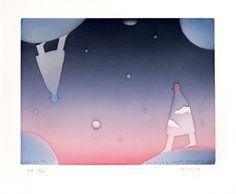 Jean-Michel Folon: Night and day  2000 Gravure originale, aquatinte