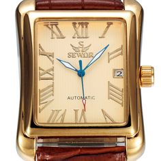 Find More Mechanical Watches Information about SEWOR Luxury Brand Men Gold Watch…
