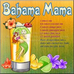Bahama Mama Recipe ~ I like to replace the regular rum with creme' de banana (or other banana liqueur).tastes just like Applebee's version when you use the banana liqueur and the coconut rum :) Bar Drinks, Cocktail Drinks, Yummy Drinks, Healthy Drinks, Cocktail Recipes, Alcoholic Drinks, Healthy Food, Nutrition Drinks, Refreshing Drinks