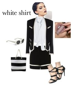 """""""Angie Shimmer"""" by puddycatshoes ❤ liked on Polyvore featuring Alexander Wang, Maje, Balmain and WardrobeStaples"""