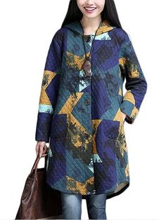 Linen Print Hooded Single Button Thick Long Coat