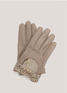 Valentino - Studded leather gloves | Neutral and Brown Short Gloves | Womenswear | Lane Crawford $310