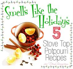 Smells Like the Holidays - 5 all natural stove top potpourri recipes to make your home smell magnificent! House smells so inviting. Cinnamon and cloves make it. Stove Top Potpourri, Simmering Potpourri, Fall Potpourri, Homemade Potpourri, Potpourri Recipes, All Things Christmas, Winter Christmas, Christmas Crafts, Christmas Ideas