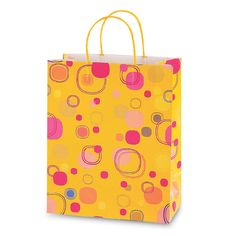 10 1/2W x 13H x 5 1/2G Large Printed savvy citrus floating bubbles Gift Bag/Case of 60