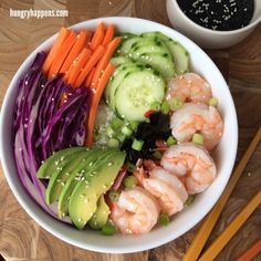 deconstructed sushi bowl with soy sauce dressing via hungry happens #healthy #raw #protein
