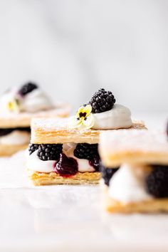 An easy recipe for Berry Mille-fuille/ Napoleon, made with vegan puff pastry, creamy coconut whip and blackberry jam.