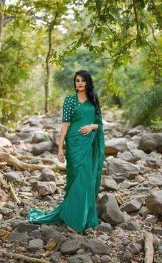 Sweet Pear Celadon Green Pure Satin Georgette Saree Satin Saree, Chiffon Saree, Georgette Sarees, Desiner Sarees, Mysore Silk Saree, Indian Beauty Saree, Indian Sarees, Indian Fashion Trends, Simple Sarees